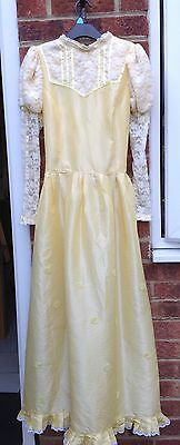 yellow vintage style victorian long costume dress