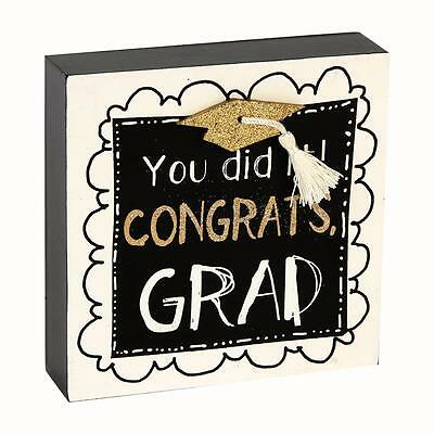 'You did it! Congrats Grad' Graduation Black, White & Gold Mantel Block
