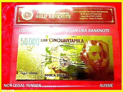 BANKNOTE ITALIAN 50000 LIRA COLOR GOLD COLOURED BANK NOTE 3D free COA