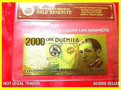 NEW RARE BANKNOTE ITALIAN 2000 LIRA COLOR GOLD COLOURED BANK NOTE 3D free COA