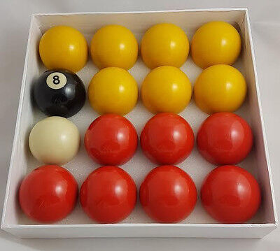 RED and YELLOW COMPETITION POOL BALLS ENGLISH TABLE 2 inch Match Quality