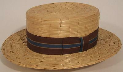 VTG 1930s 1940s PORTIS HAND CRAFTED STRAW BOATER SKIMMER HAT ~ Sz 6 3/4
