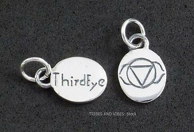 THIRD EYE Chakra Charm Sterling Silver Anja psychic 13mm 2sided inc jump ring