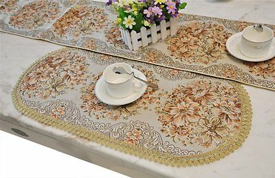 Placemat, BlueTop Classic Luxury Table Mat Elegant Embroidery Table Linen Europe