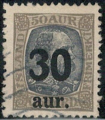 Lot 2990 - Iceland - 1921 30a on 50a grey and brown Used Stamp