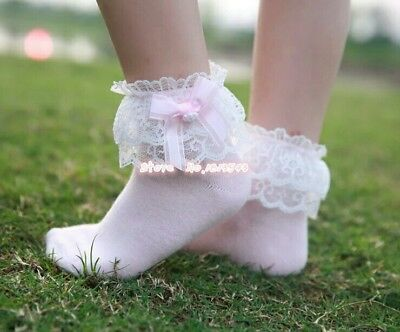 Spanish Romany Girls ROSE FLOWER BOW ANKLE FRILLY SOCKS SOFT KIDS AGE 2-4Years