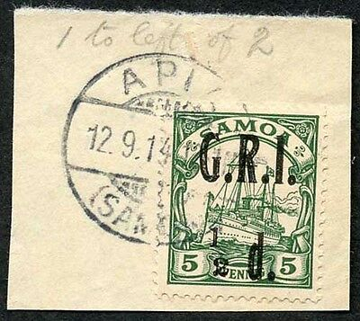 Samoa NZ Occ SG102d 1/2d on 5pf Green 1 to left of 2 Very Fine used on Piece