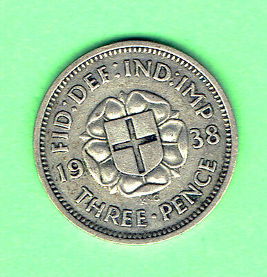 Great Britain (V1) Good Fine (NVF) 1938 Silver 3d Three Pence George  V