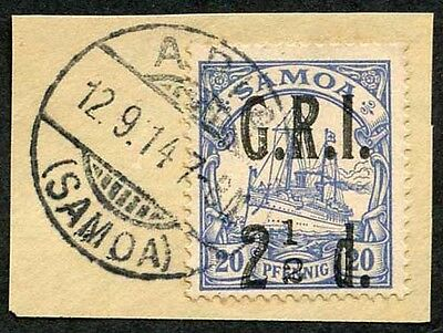 Samoa NZ Occ SG104a 2 1/2d on 20pf No Fraction Bar Very Fine used on Piece