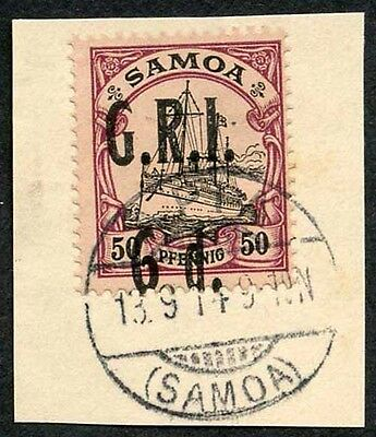 Samoa NZ Occupation SG107 5d (misplaced) on 50pf Very Fine used on Piece