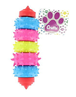 Crufts Blue, Pink & Green Colour Dental Teether Dog, Puppy Pet Ring Chew Toy