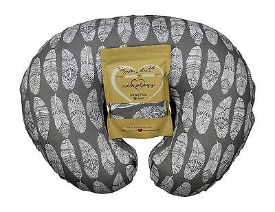 Nursing Pillow Slipcover Gray Feathers Cover Maternity Breastfeeding Newborn NEW