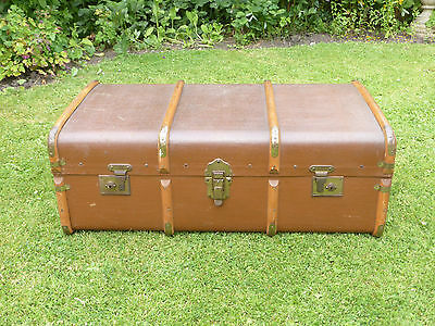 Vintage Wooden Banded Travel Trunk- Ideal Storage + Coffee Table!