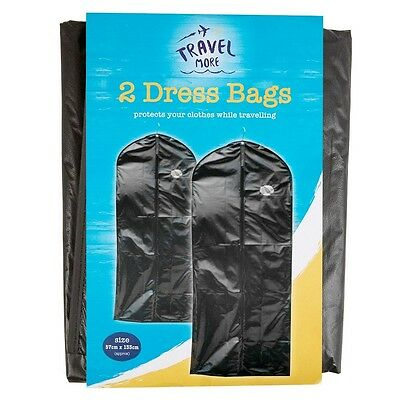 2 X Hanging Suit/Dress Bags Zipped Clothes Protection Travel Carrier-Black