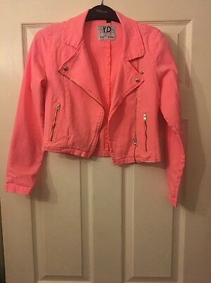 Primark YD Kids Bright Coral Pink Denim Jacket 12-13 Years