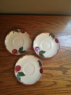 "Set Of 3 Vintage Franciscan APPLE 5 7/8"" SAUCERS Plate California Stamp USA Made"