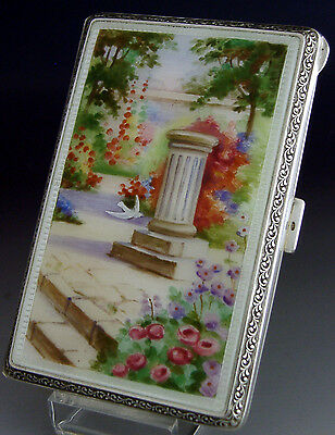 Stunning Quality English Sterling Silver Enamel Cigarette Case Antique 1927
