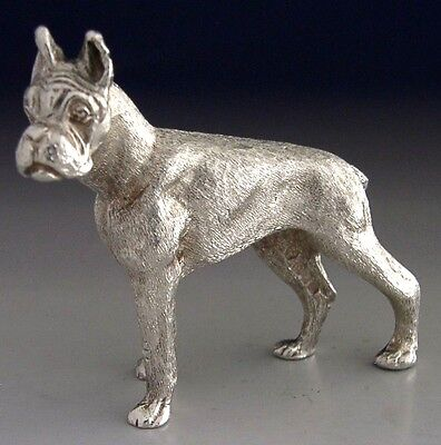 GOOD SIZED SOLID STERLING SILVER BOXER DOG 1978 ANIMAL 80g 2.5inch