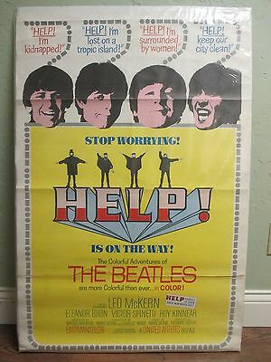 "The Beatles ""HELP"" 27x41"" Original Movie Poster 1965 / One Sheet UA Tri-fold USA"