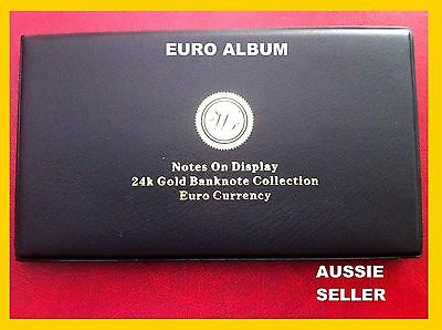 Gift 8 Euro Gold Album Europe Banknote Rare Set 24Kt 5 T0 1000 Euro Limited Coa