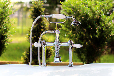 Chrome Clawfoot Tub Filler Telephone Hand Shower CC106T1 Porcelain Lever Handles