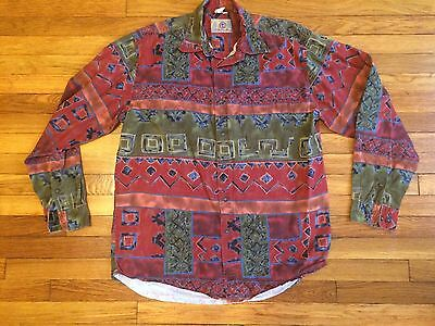 Rare Vintage The Territory Ahead Abstract All Over Print Button Down Shirt Large