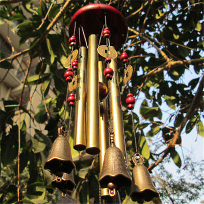 Neu Beauty Garden Hanging Decor Gift 4 Tube 5 Bells Copper Wind Chimes Home Yard