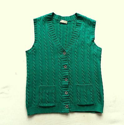 Women's Vintage Buttoned Cable Knit Tank Top Retro Boho 10 - 12