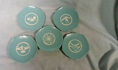 Five Vintage Turquoise Pottery Small Plates With Embossed Designs Excellent