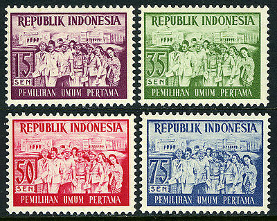 Indonesia 410-413, MNH. First free elections in Indonesia, 1955