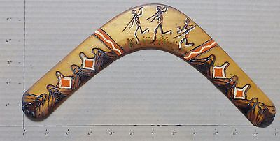 """100% Australian Boomerang - Pyrography & Hand Painted Approx 12"""" (Bx7)"""