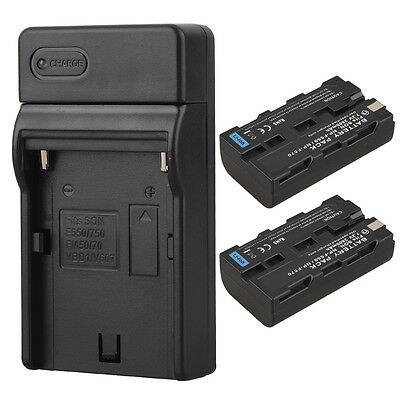 2x 2600mah Replacement Camera Battery Pack + Charger For Sony NP-F550 NP-F570