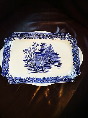 Blue White Ceramic Burleigh Ware Burslem Collector Platter Tray
