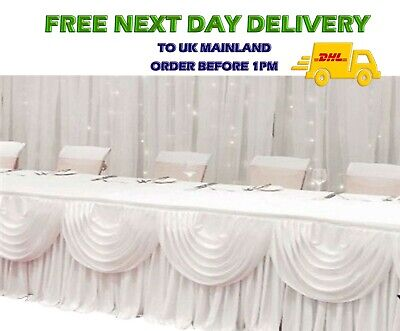 Silky Satin White DETACHABLE SWAG For Wedding Backdrop Curtain Party Stage Decor