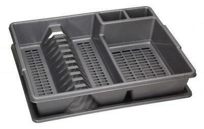silver GREY Dish Rack Drainer Plate Cutlery Utensil Holder with Dripping Tray