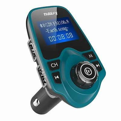 Upgraded Nulaxy Wireless In-Car Bluetooth FM Transmitter Radio Adapter Kit Blue