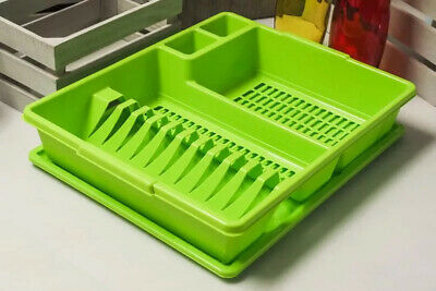 GREEN Large Dish Drainer Rack Tray Utensil Cutlery Kitchen Plate Holder Plastic