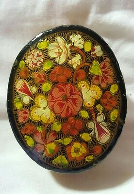 Vintage Lacquered Trinket Box Hand Painted With Flowers