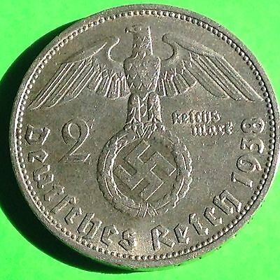 Germany 1938-D  2 Rm Reichsmark  Silver Nazi Coin