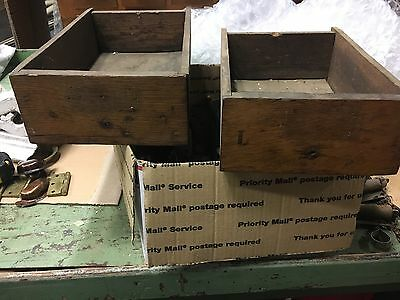 """Salvaged antique hardware store bolt cabinet draw box oak face 12.5/15"""" x 8.5 x4"""
