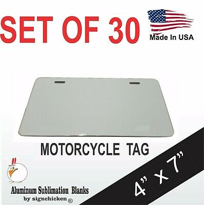"""25 Pieces ALUMINUM LICENSE PLATE SUBLIMATION BLANKS 4""""x 7"""" MOTORCYCLE TAG"""