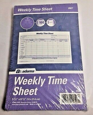 Adams Weekly Time Sheet 1-Part. 2 Pads White With Blue Ink 100 Sheets Each