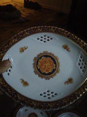 T. Limoges Bacchus Oval Plate Serving Tray Reticulated Designed in Franc