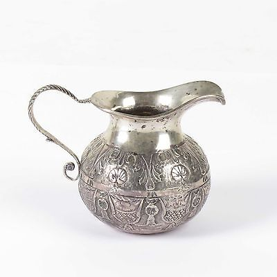 Antique silver cream pitcher 19th c Continental tiny hallmark Netherlands small