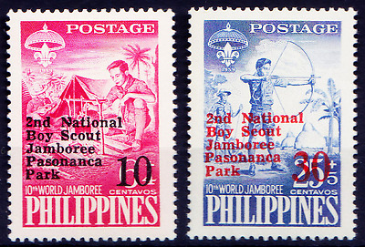 Philipppines 1961 MNH 2v, Over Print, Boy Scouts, Camp Fire  - B118