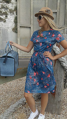 Vintage 1970's Blue Floral Belted Day Dress by RICHARD STUMP. Size 14.
