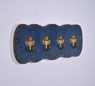"*20"" Vintage French Blue Velvet Coat Rack Hall Tree with Brass Hooks"