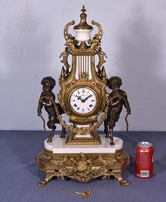 *Large Vintage Rococo Bronze & White Marble Clock w/Figural Centaurs