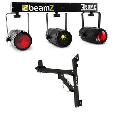 Beamz 3-Some Led Moonlower Set Inc Wall Mount Dmx Sound Activated Mode 3X57 Rgbw