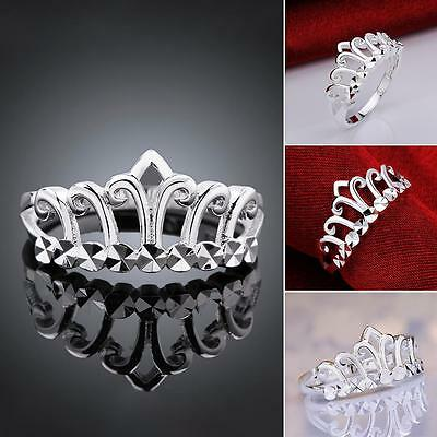 Lady  Ring Fashion Jewelry 925 Sterling Silver Crown Ring Wedding UK Size Q